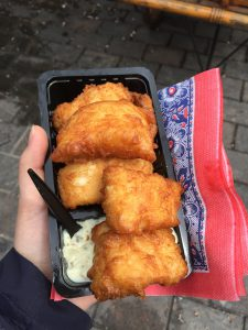 A traditional Dutch food: Kibbeling (fried white fish)